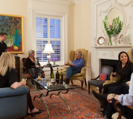 Embassy Circle - Guests gather in the main living area for Wine Tour.