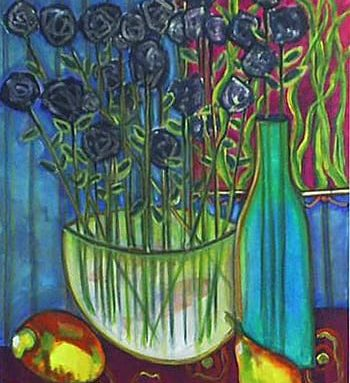 Original art showcases an abstract painting of a bowl of flowers and fresh fruit with deep purple, blue, and green tones